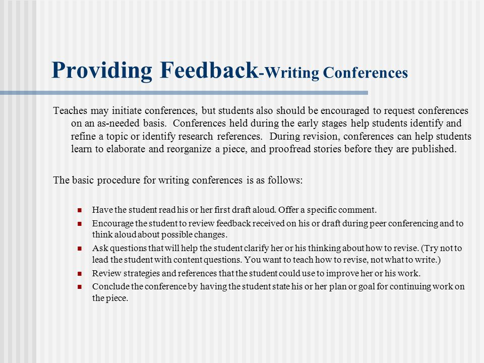 Providing Feedback-Writing Conferences
