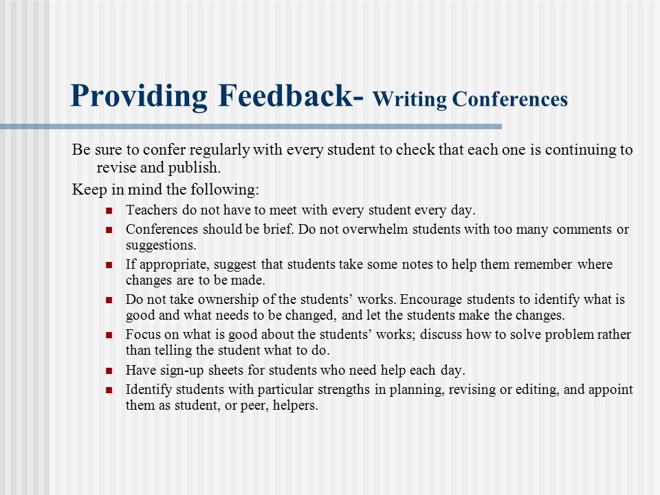 Providing Feedback- Writing Conferences