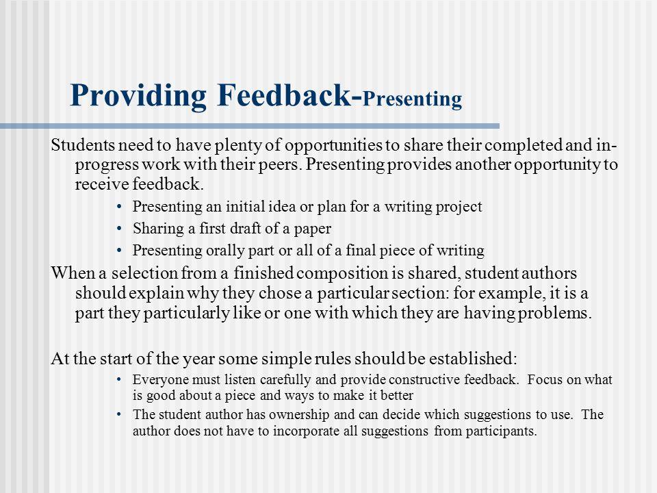 Providing Feedback-Presenting