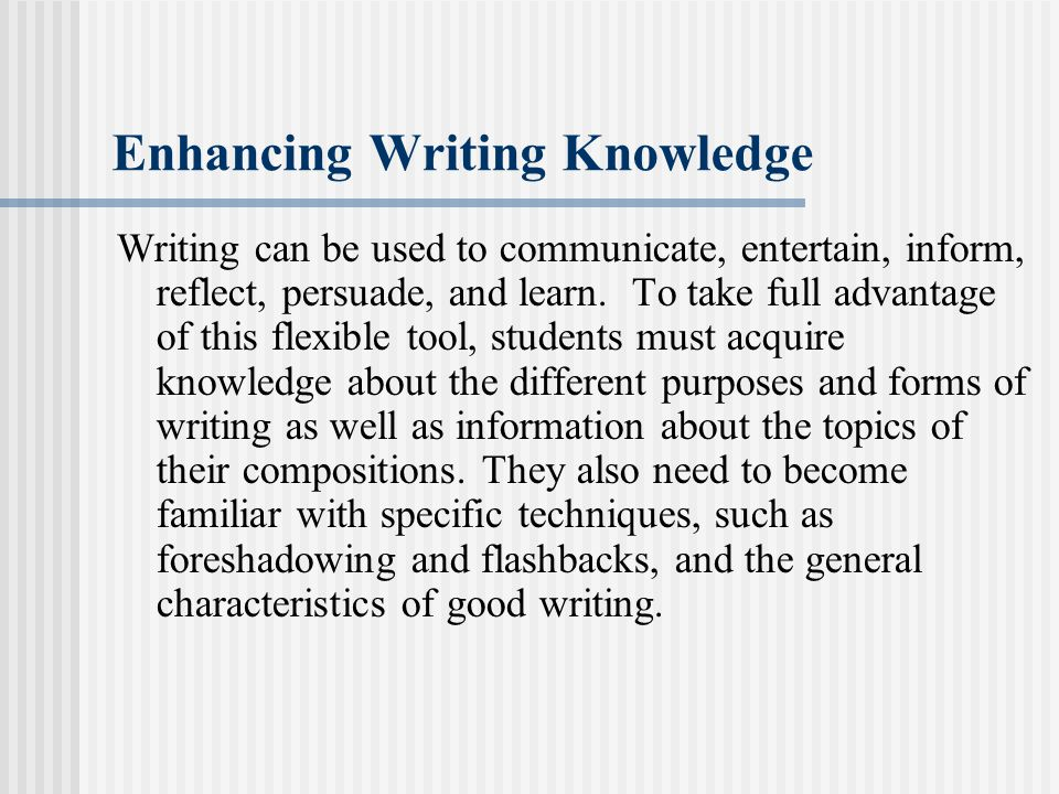 Enhancing Writing Knowledge