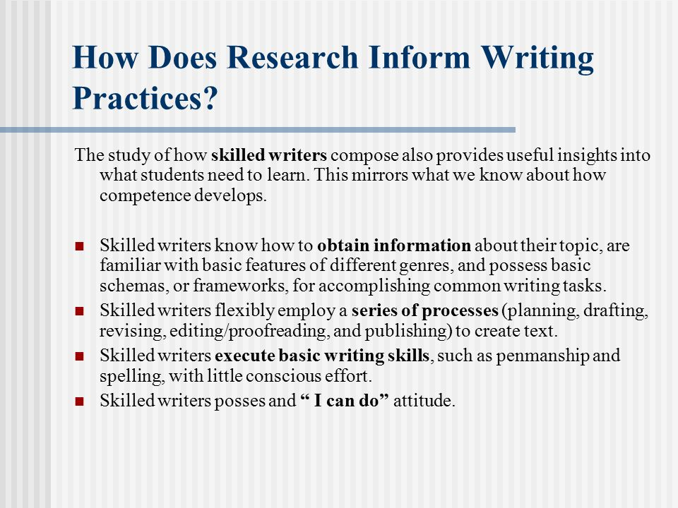 How Does Research Inform Writing Practices