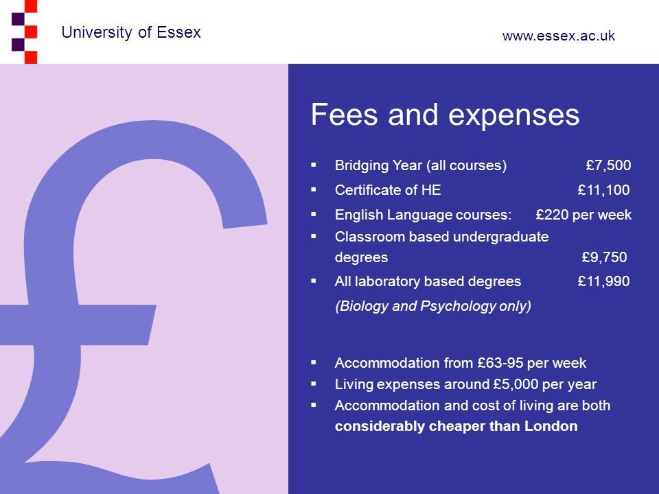 £ Fees and expenses Bridging Year (all courses) £7,500