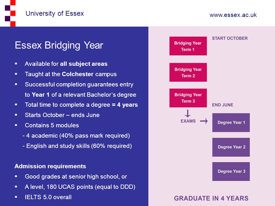 Essex Bridging Year Available for all subject areas