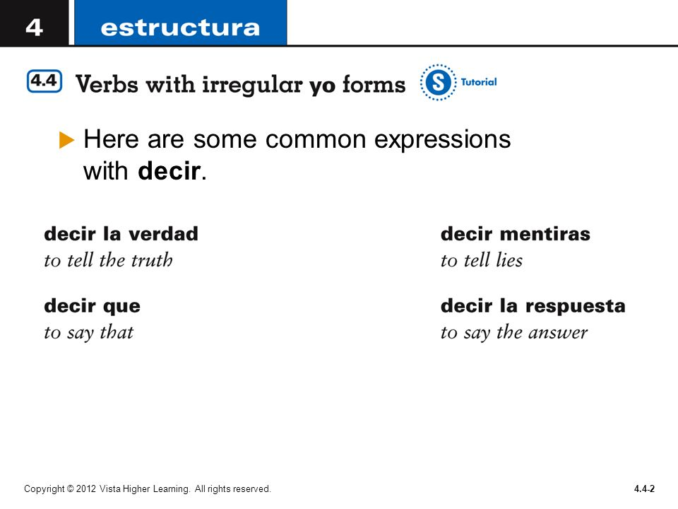 Here are some common expressions with decir.