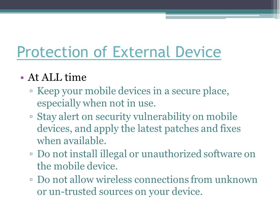 Protection of External Device
