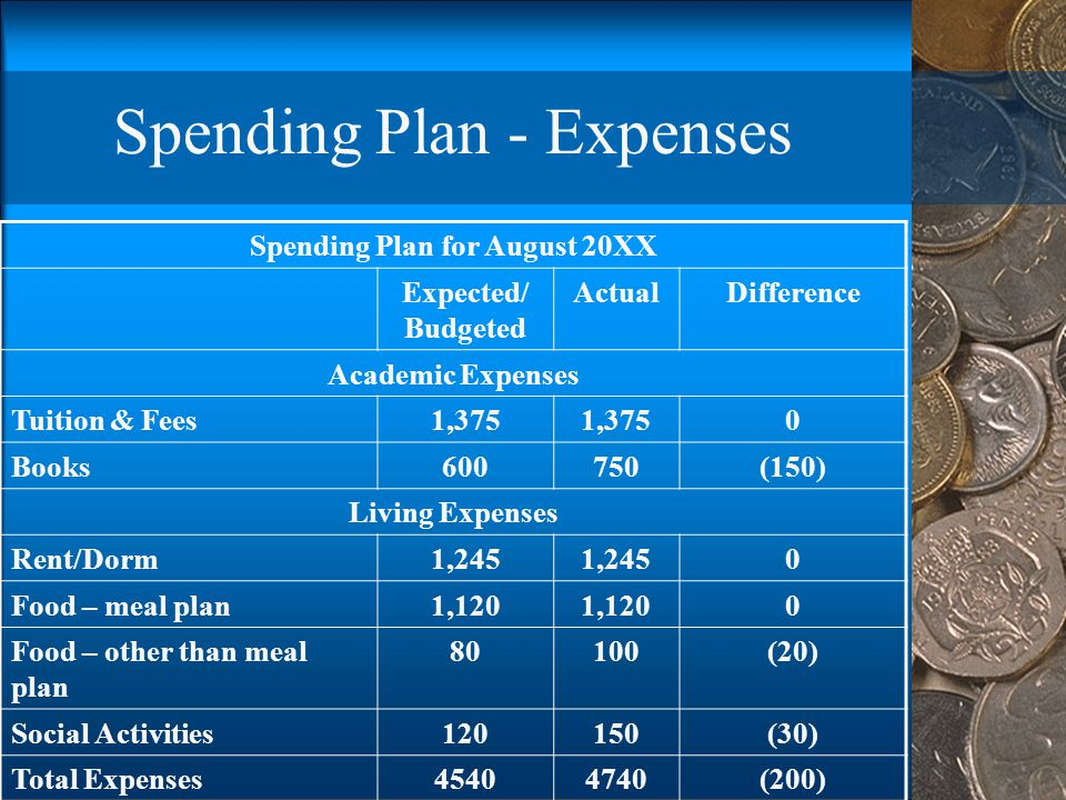 Spending Plan - Expenses