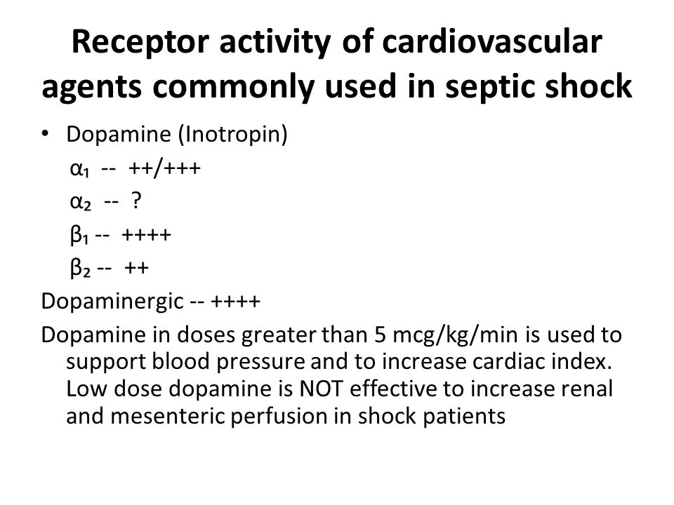 Receptor activity of cardiovascular agents commonly used in septic shock