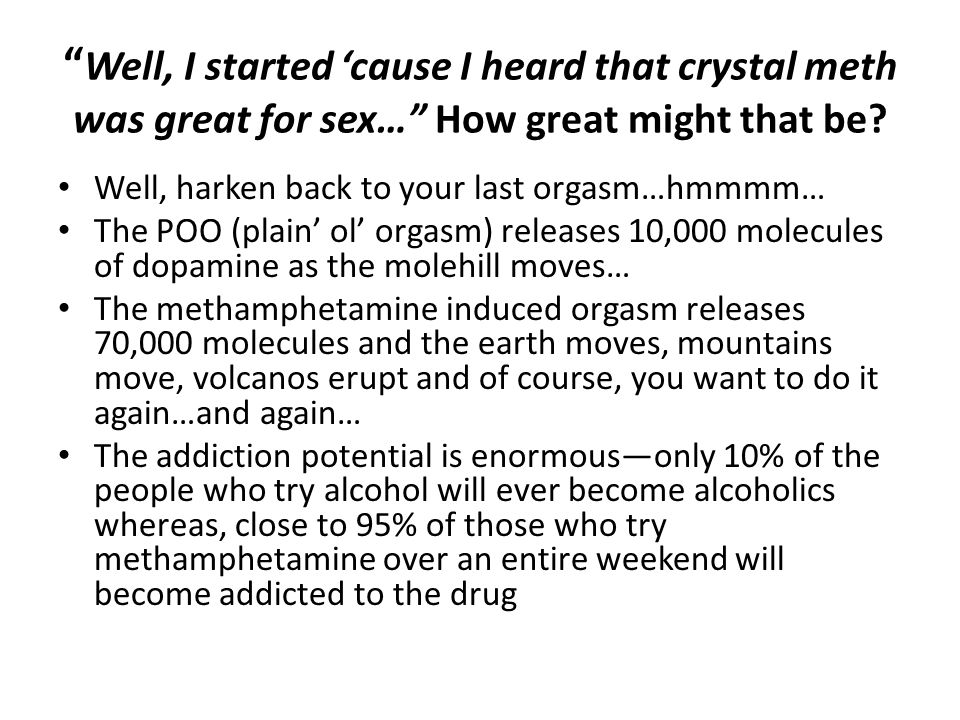 Well, I started 'cause I heard that crystal meth was great for sex… How great might that be