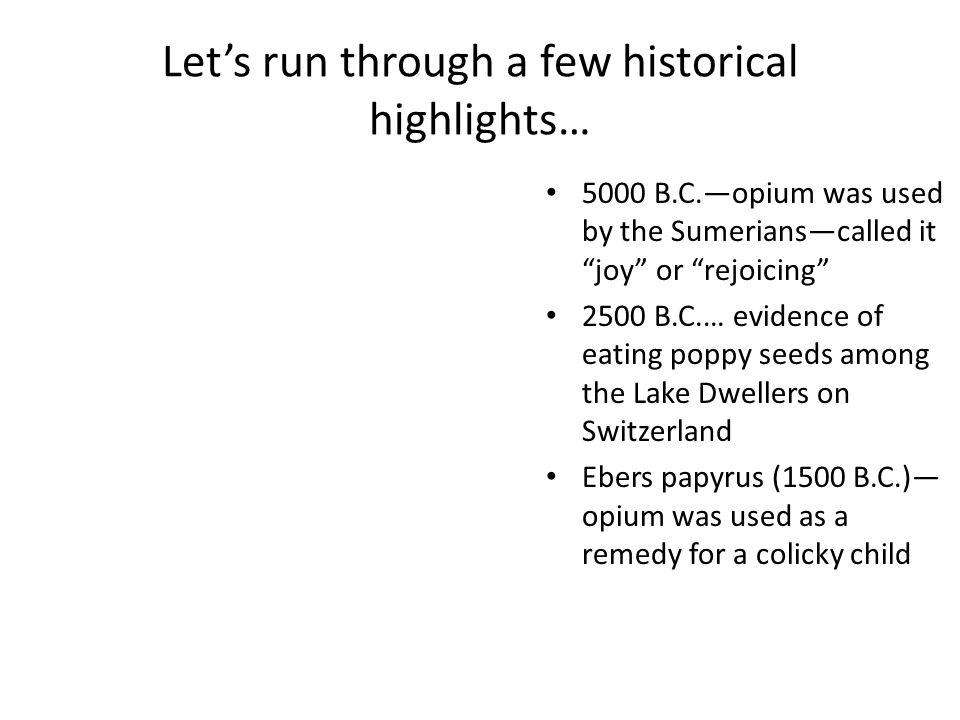 Let's run through a few historical highlights…