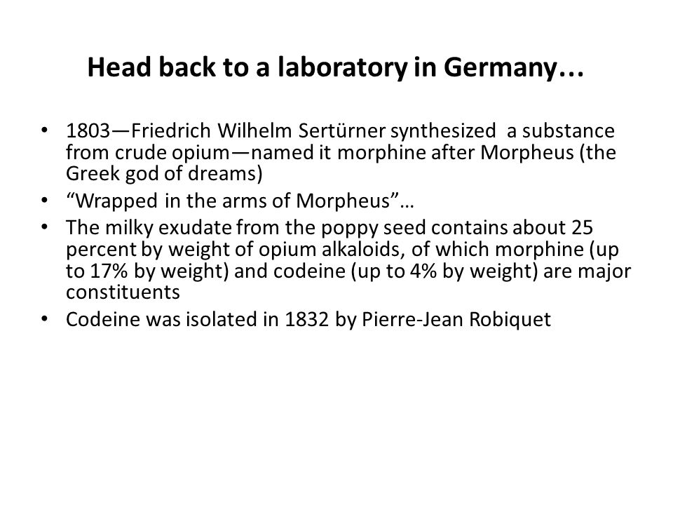 Head back to a laboratory in Germany…