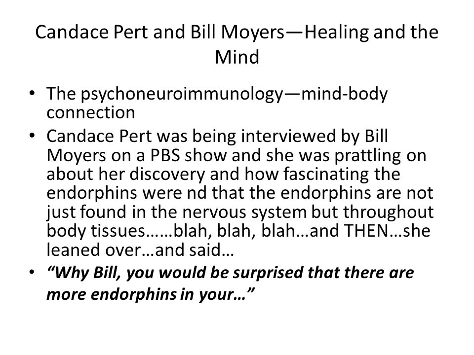 Candace Pert and Bill Moyers—Healing and the Mind