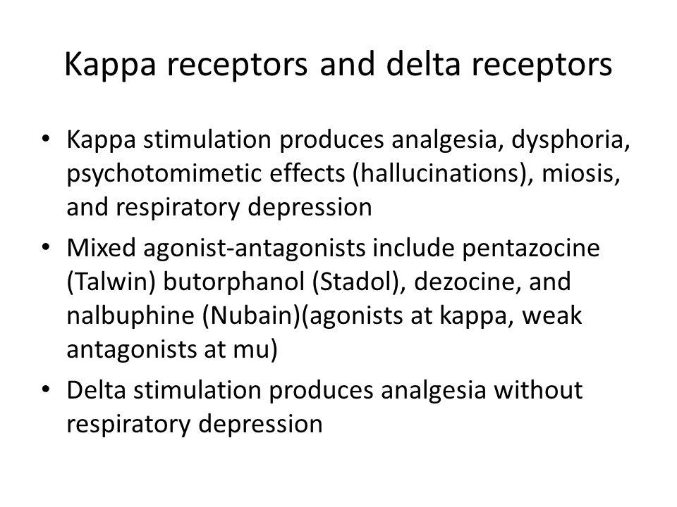 Kappa receptors and delta receptors