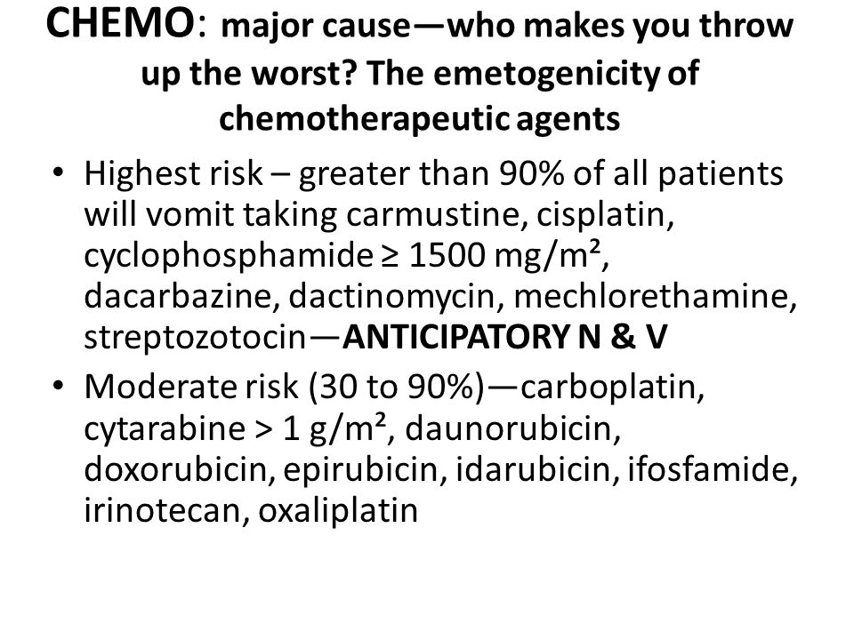 CHEMO: major cause—who makes you throw up the worst