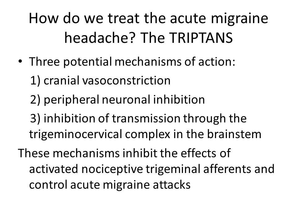 How do we treat the acute migraine headache The TRIPTANS