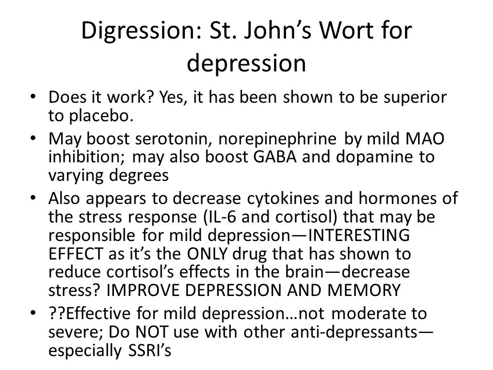 Digression: St. John's Wort for depression