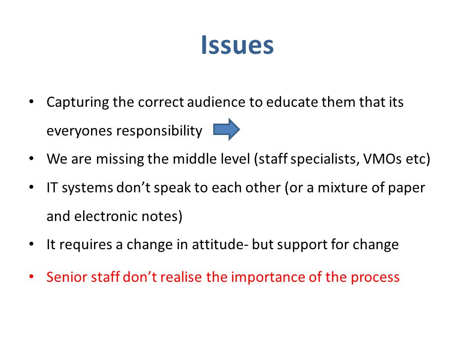 Issues Capturing the correct audience to educate them that its everyones responsibility.