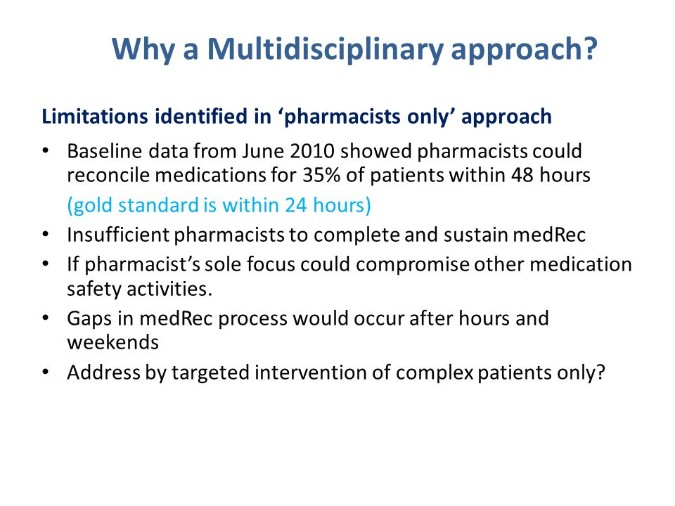 Why a Multidisciplinary approach
