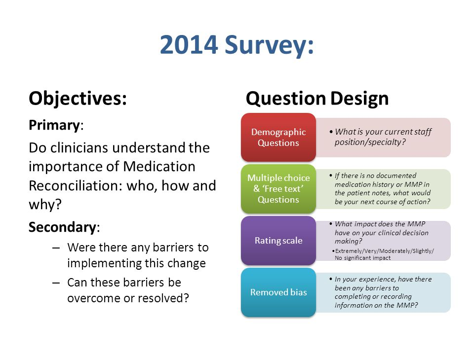 2014 Survey: Objectives: Question Design Primary: