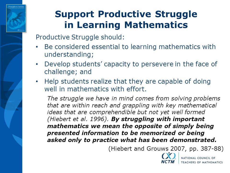 Support Productive Struggle in Learning Mathematics