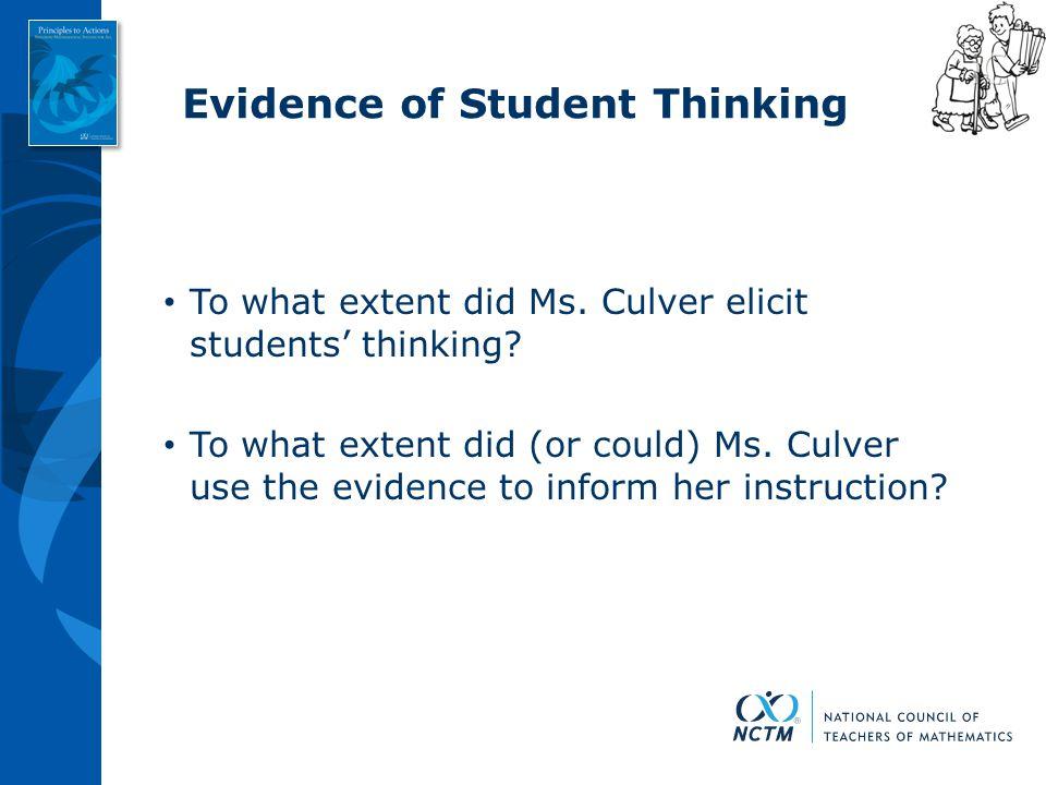 Evidence of Student Thinking