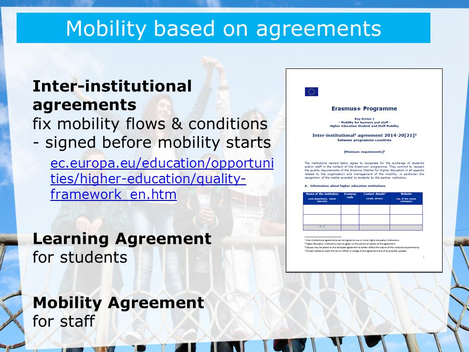 Mobility based on agreements