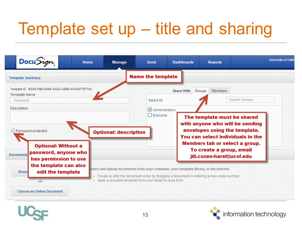 Template set up – title and sharing