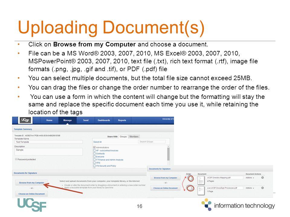 Uploading Document(s)