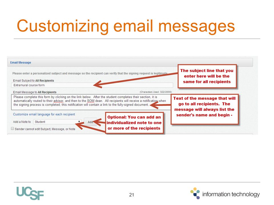 Customizing email messages