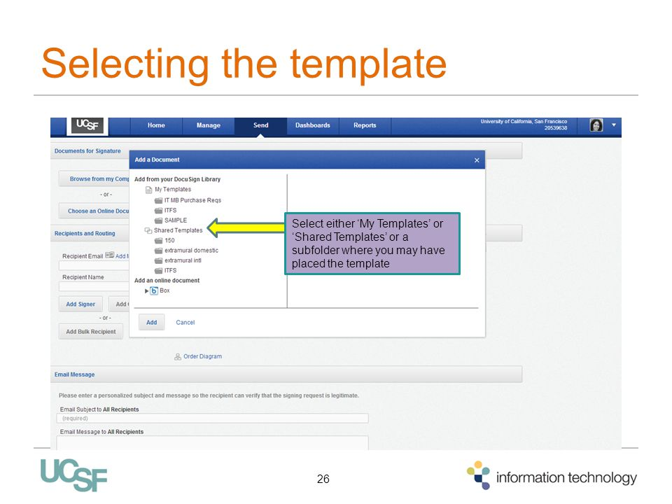Selecting the template