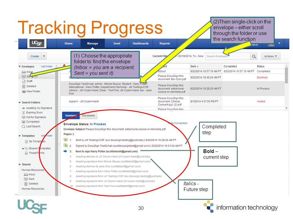 Tracking Progress (2)Then single-click on the envelope – either scroll through the folder or use the search function.