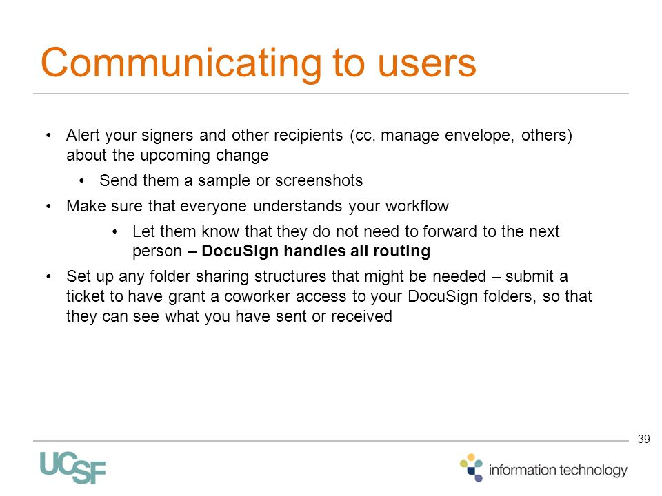 Communicating to users