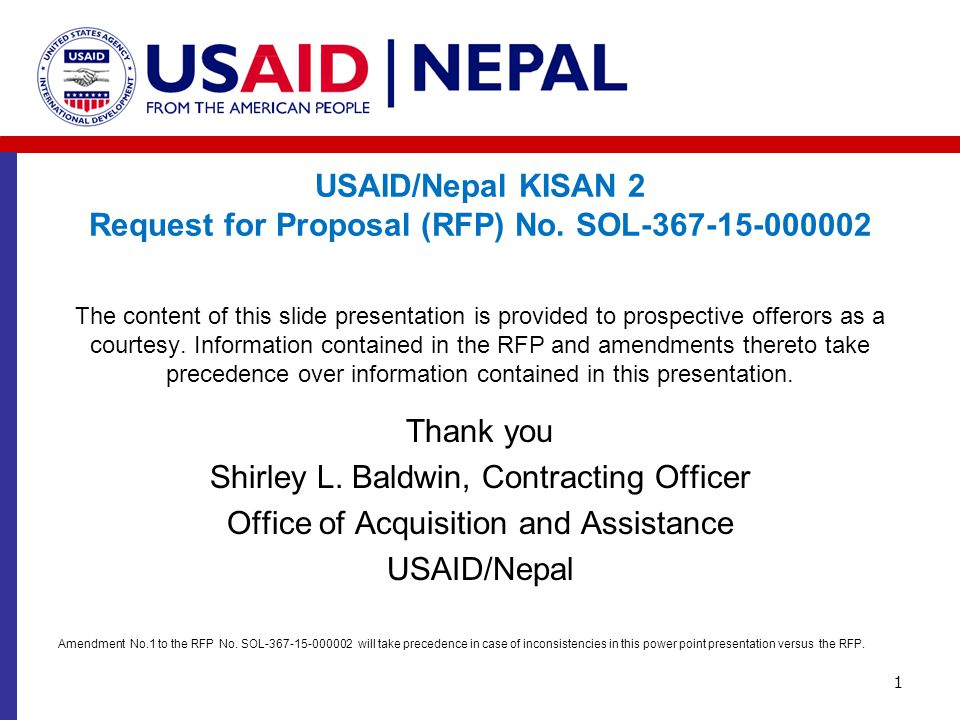 USAID/Nepal KISAN 2 Request for Proposal (RFP) No. SOL-367-15-000002