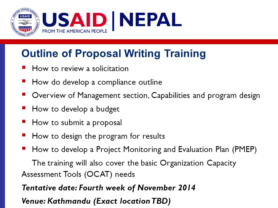 Outline of Proposal Writing Training