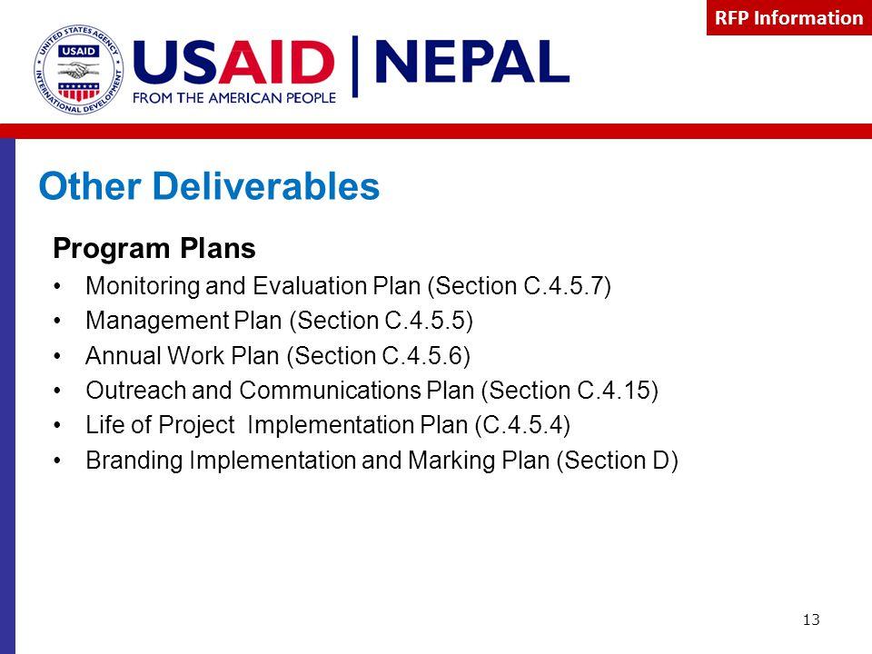 Other Deliverables Program Plans