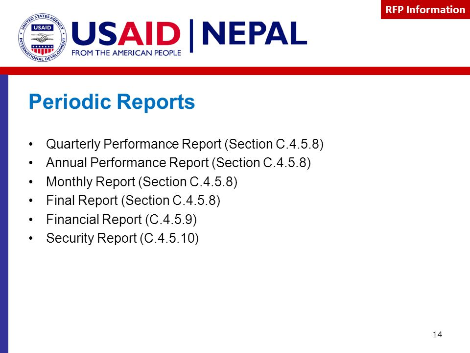 Periodic Reports Quarterly Performance Report (Section C.4.5.8)