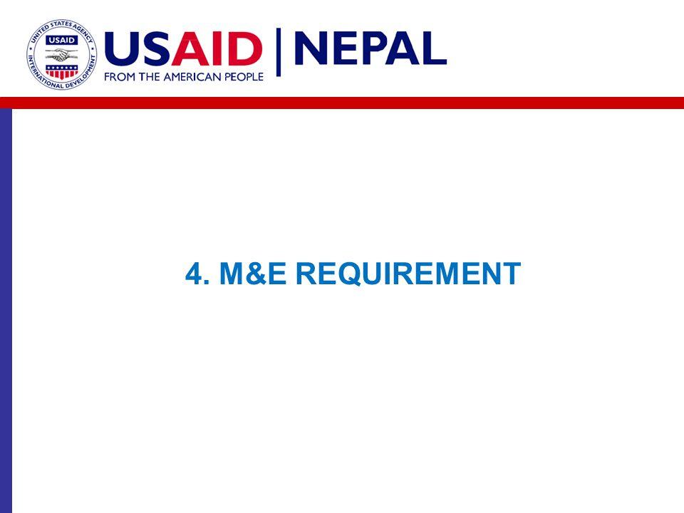 4. M&E REQUIREMENT