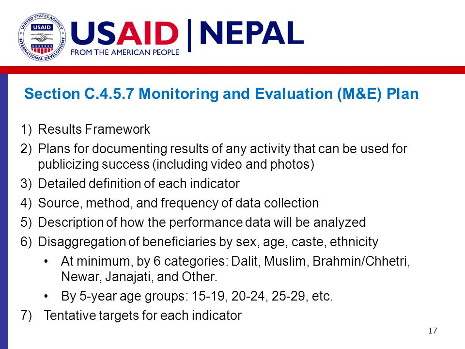 Section C.4.5.7 Monitoring and Evaluation (M&E) Plan