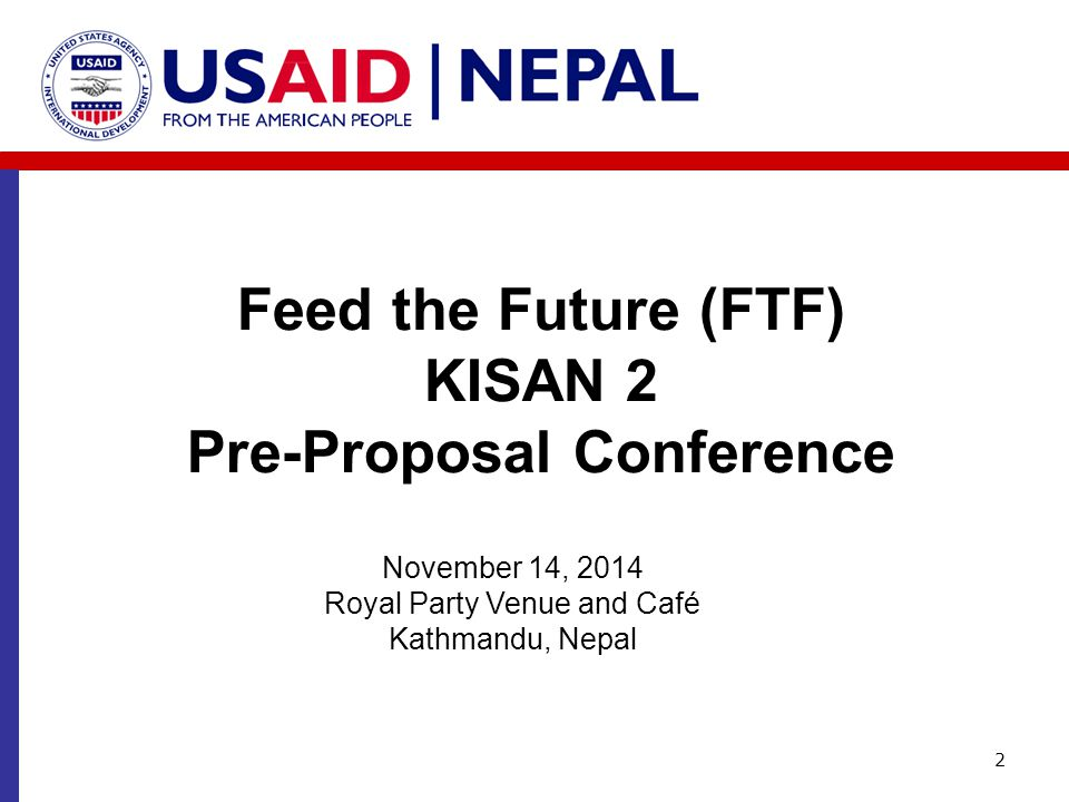 Feed the Future (FTF) KISAN 2 Pre-Proposal Conference