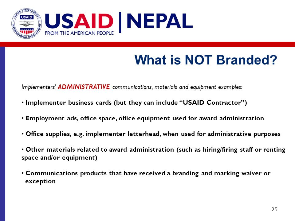 What is NOT Branded Implementers' ADMINISTRATIVE communications, materials and equipment examples: