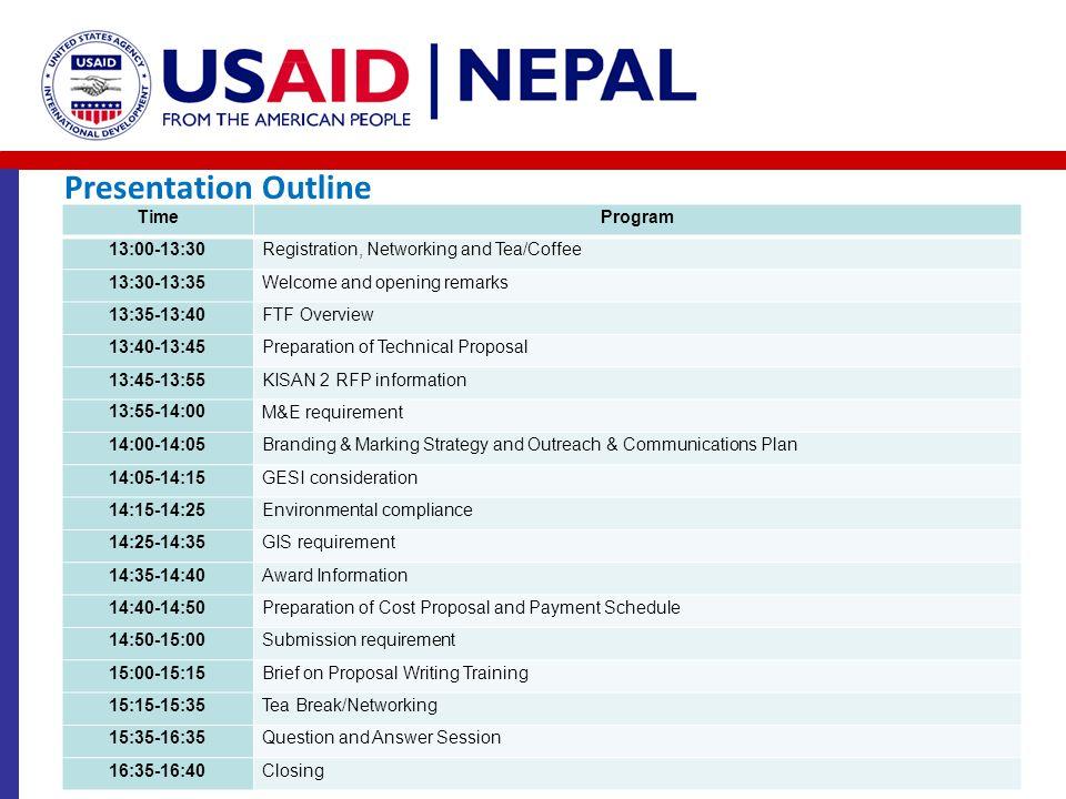 Presentation Outline Time Program 13:00-13:30