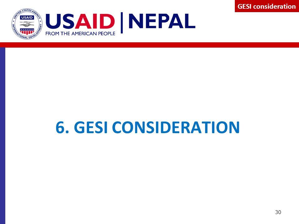 GESI consideration 6. GESI CONSIDERATION