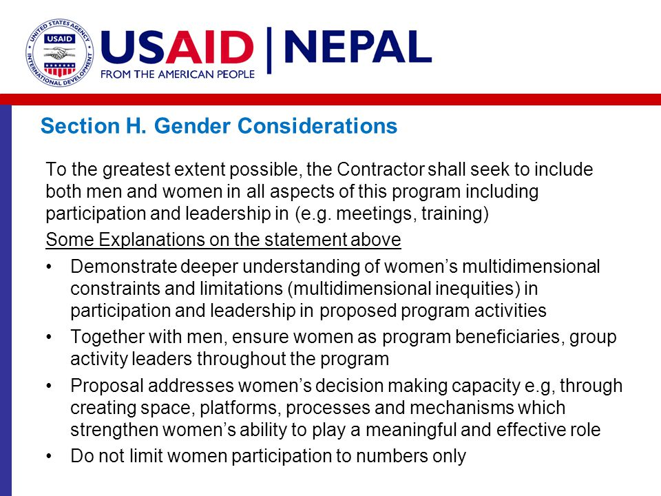 Section H. Gender Considerations