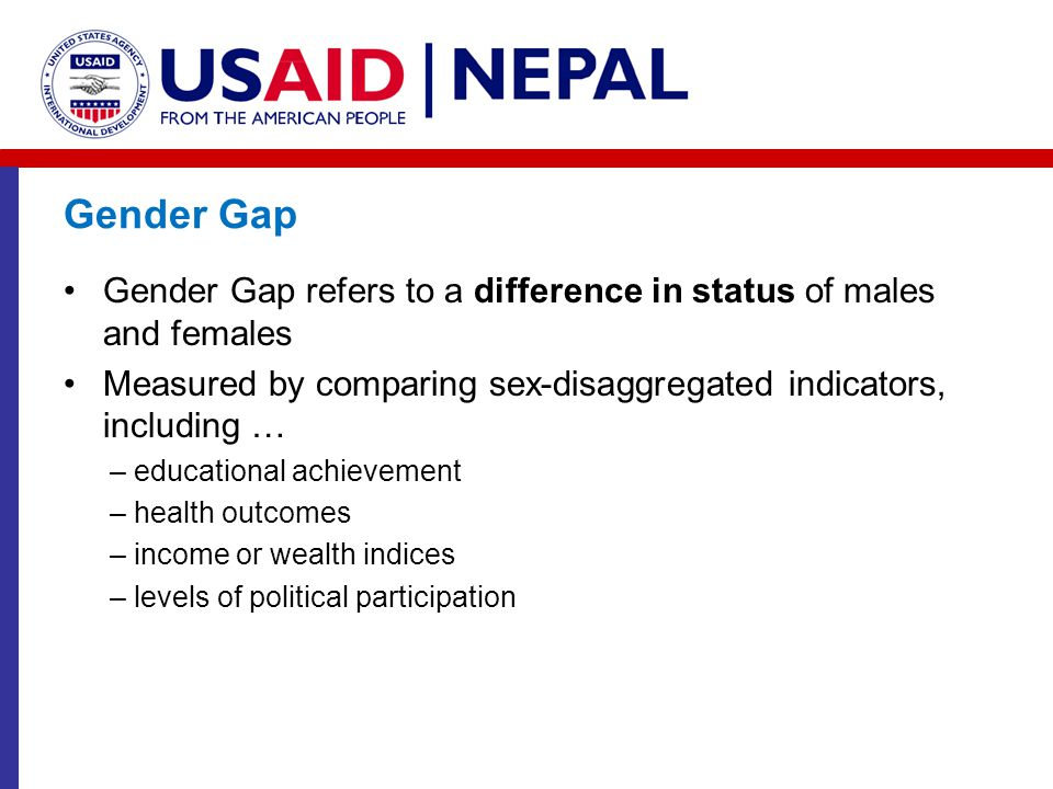 Gender Gap Gender Gap refers to a difference in status of males and females. Measured by comparing sex-disaggregated indicators, including …