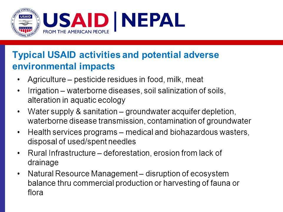Typical USAID activities and potential adverse environmental impacts