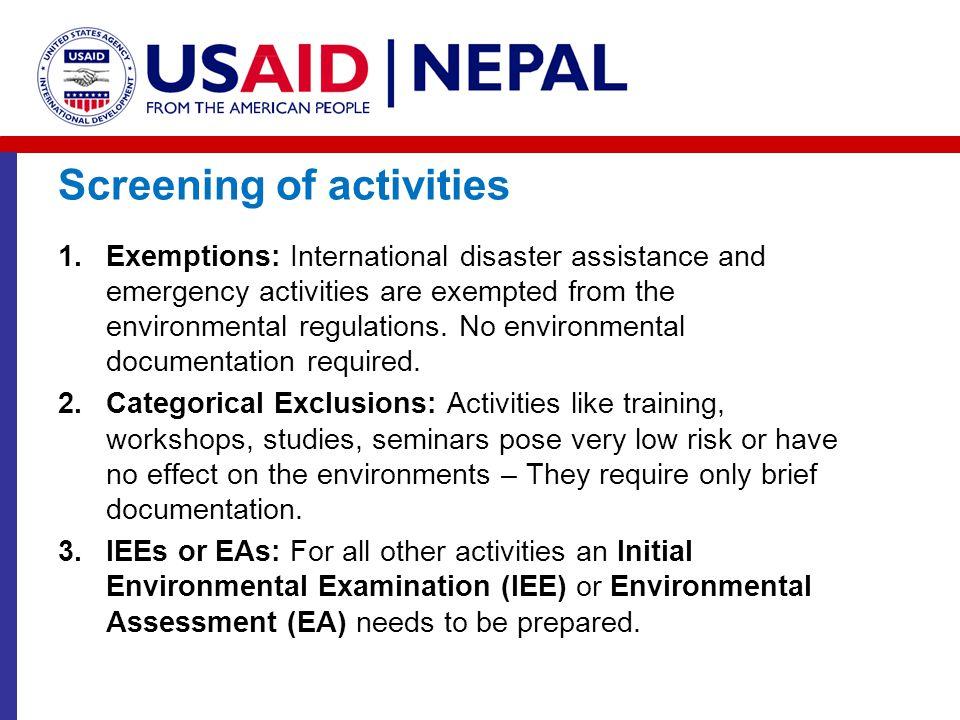 Screening of activities