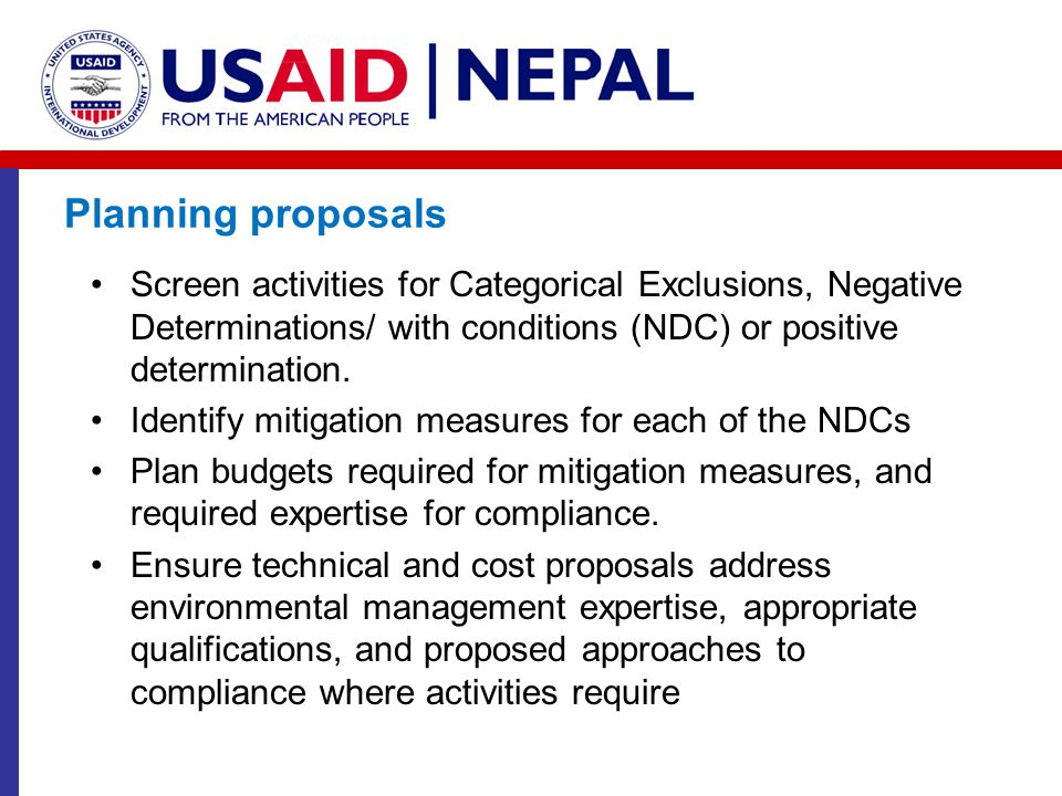 Planning proposals Screen activities for Categorical Exclusions, Negative Determinations/ with conditions (NDC) or positive determination.
