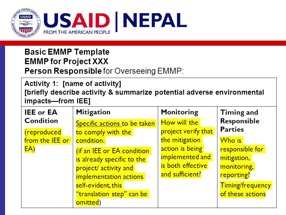Basic EMMP Template EMMP for Project XXX Person Responsible for Overseeing EMMP: