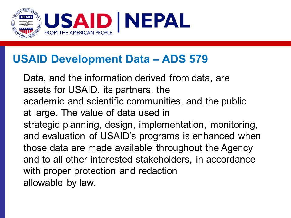 USAID Development Data – ADS 579