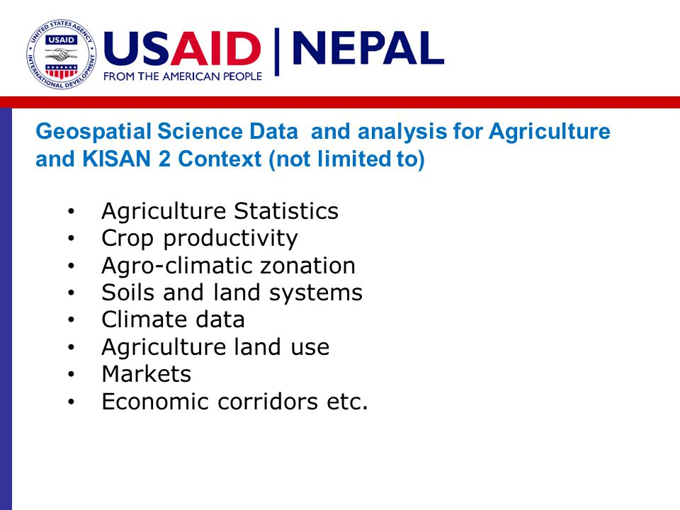 Geospatial Science Data and analysis for Agriculture and KISAN 2 Context (not limited to)