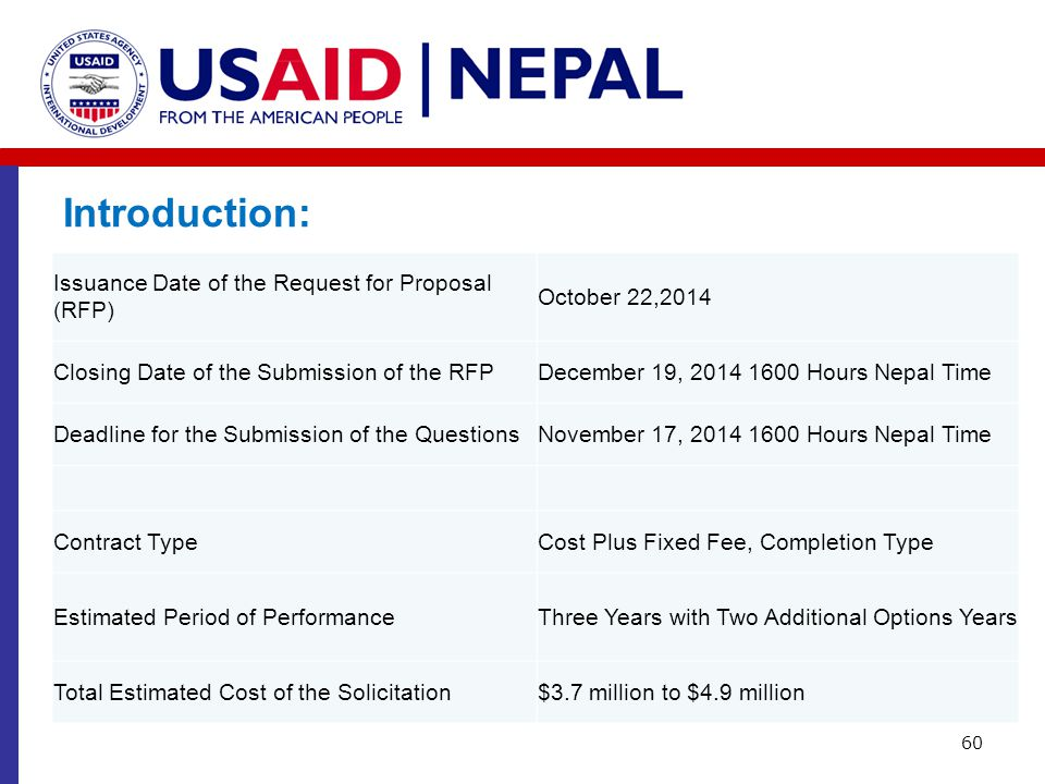 Introduction: Issuance Date of the Request for Proposal (RFP)